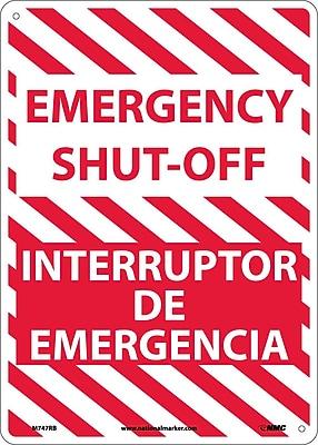 Emergency Shut-Off, Bilingual, 14X10, Rigid Plastic