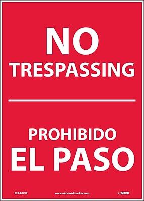 No Trespassing, Bilingual, 14X10, Adhesive Vinyl