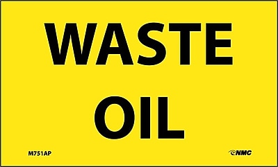 Labels -Waste Oil, 3X5, Adhesive Vinyl 5/Pk