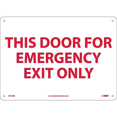 This Door For Emergency Exit Only, 10X14, Rigid Plastic