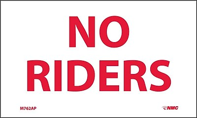 Labels -No Riders, 3X5, Adhesive Vinyl, 5/Pk
