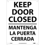 Keep Door Closed, Bilingual, 14X10, Rigid Plastic