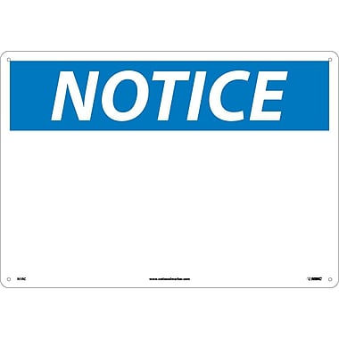 Notice, (Blank), 14X20, Rigid Plastic