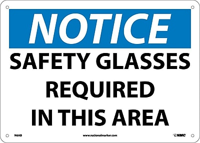 Notice, Safety Glasses Required In This Area, 10X14, .040 Aluminum