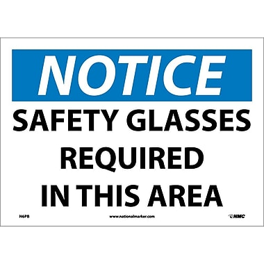 Notice, Safety Glasses Required In This Area, 10