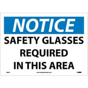 Notice, Safety Glasses Required In This Area, 10X14, Adhesive Vinyl