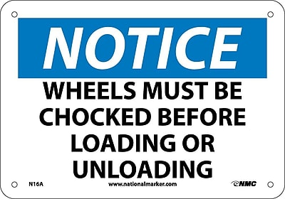 Notice, Wheels Must Be Chocked Before Loading Or Unloading, 7X10, .040 Aluminum