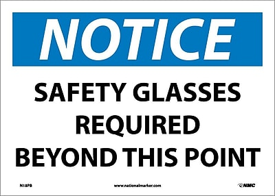 Notice, Safety Glasses Required Beyond This Point, 10X14, Adhesive Vinyl