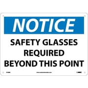 Notice, Safety Glasses Required Beyond This Point, 10X14, Rigid Plastic