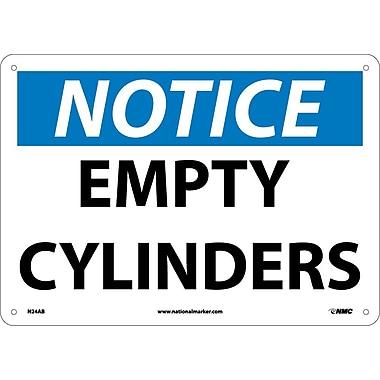 Notice, Empty Cylinders, 10X14, .040 Aluminum