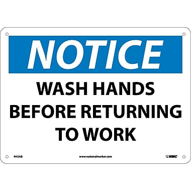 Notice, Wash Hands Before Returning To Work, 10X14, .040 Aluminum
