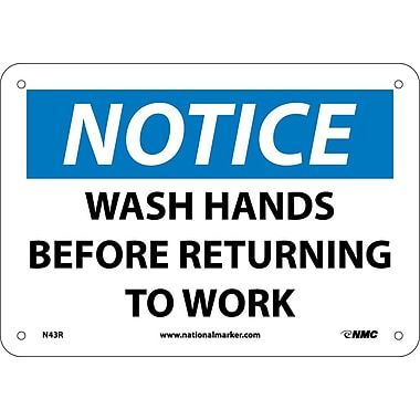 Notice, Wash Hands Before Returning To Work, 7X10, Rigid Plastic