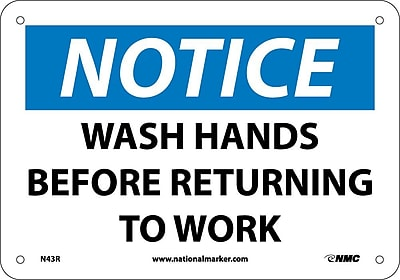 Notice, Wash Hands Before Returning To Work, 7X10, Rigid Plastic