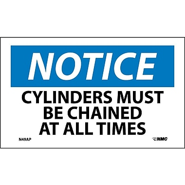 Labels Notice, Cylinders Must Be Chained At All Times, 3