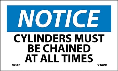 Labels - Notice, Cylinders Must Be Chained At All Times, 3X5, Adhesive Vinyl, 5/Pk