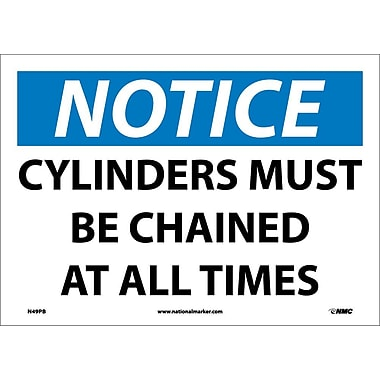 Notice, Cylinders Must Be Chained At All Times, 10X14, Adhesive Vinyl