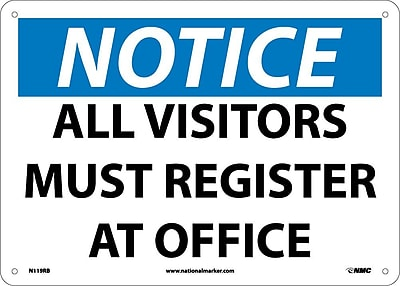 Notice, All Visitors Must Register At Office, 10X14, Rigid Plastic