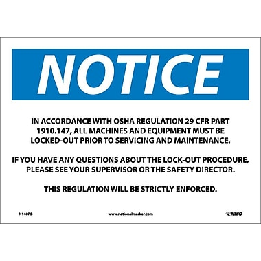 Notice, In Accordance With Osha Regulations 29.., 10X14, Adhesive Vinyl