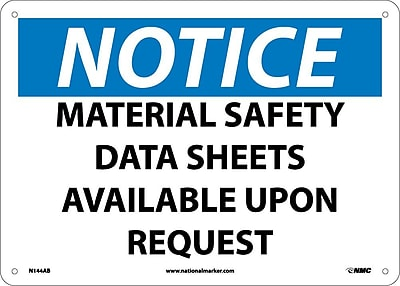 Notice, Material Safety Data Sheets Available Upon. . ., 10X14, .040 Aluminum