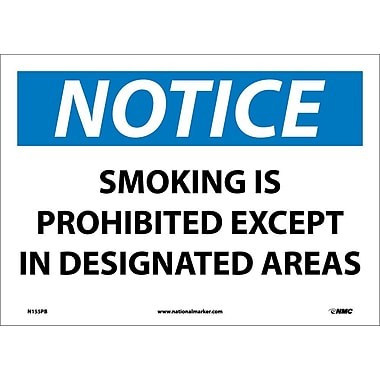 Panneau Notice, Smoking Is Prohibited Except In Designated Areas, 10 x 14 po, vinyle adhésif