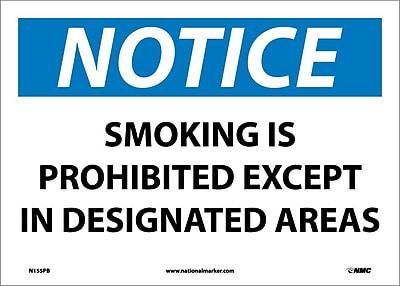 Notice, Smoking Is Prohibited Except In Designated.., 10X14, Adhesive Vinyl