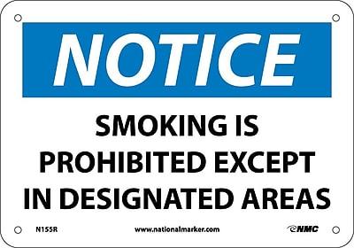 Notice, Smoking Is Prohibited Except In Designated Areas, 7X10, Rigid Plastic