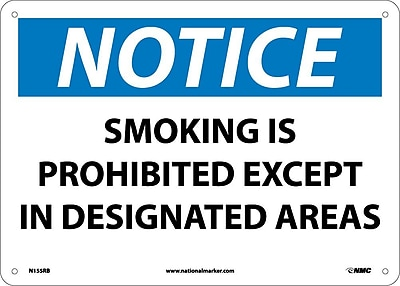 Notice, Smoking Is Prohibited Except In Designated Areas, 10X14, Rigid Plastic