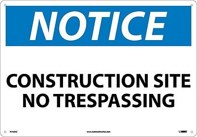 Notice, Construction Site No Trespassing, 14X20, .040 Aluminum