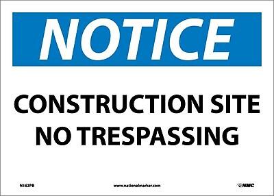 Notice, Construction Site No Trespassing, 10X14, Adhesive Vinyl
