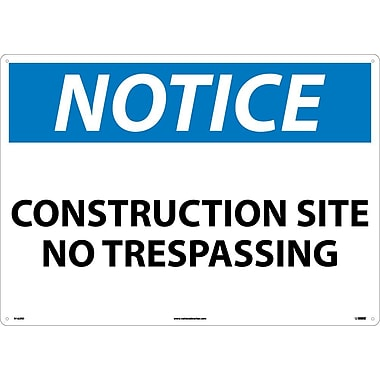 Notice, Construction Site No Trespassing, 20