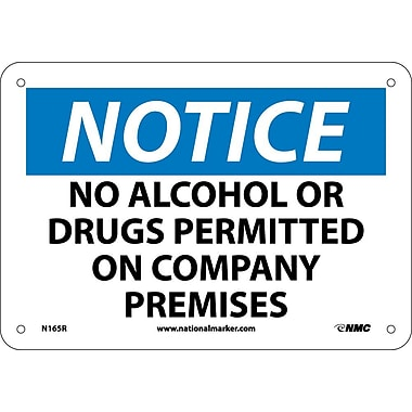 Notice, No Alcohol Or Drugs Permitted On Company Premises, 7X10, Rigid Plastic