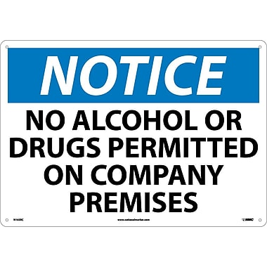Notice, No Alcohol Or Drugs Permitted On Company Premises, 14X20, Rigid Plastic