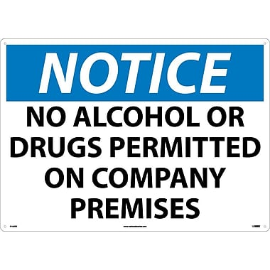 Notice, No Alcohol Or Drugs Permitted On Company Premises, 20