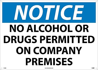 Notice, No Alcohol Or Drugs Permitted On Company Premises, 20X28, Rigid Plastic