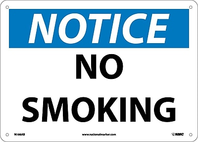 Notice, No Smoking, 10X14, .040 Aluminum