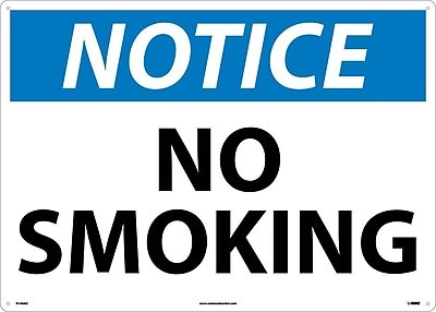 Notice, No Smoking, 20X28, .040 Aluminum
