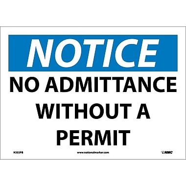 Notice, No Admittance Without A Permit, 10X14, Adhesive Vinyl