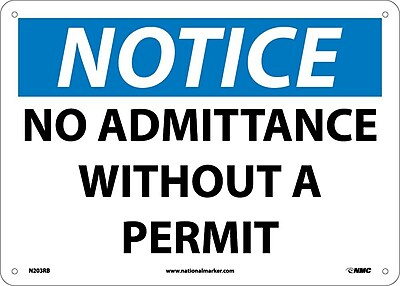 Notice, No Admittance Without A Permit, 10X14, Rigid Plastic