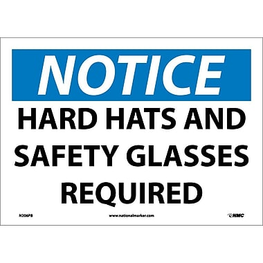 Notice, Hard Hat And Safety Glasses Required, 10X14, Adhesive Vinyl