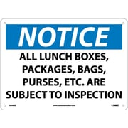 Notice, All Lunch Boxes Packages Bags Purses.., 10X14, Rigid Plastic