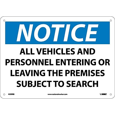 Notice, All Vehicles And Personnel Entering Or. . . . ., 10X14, Rigid Plastic