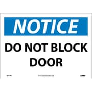 Notice, Do Not Block Door, 10X14, Adhesive Vinyl