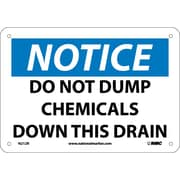Notice, Do Not Dump Chemicals Down This Drain, 7X10, Rigid Plastic