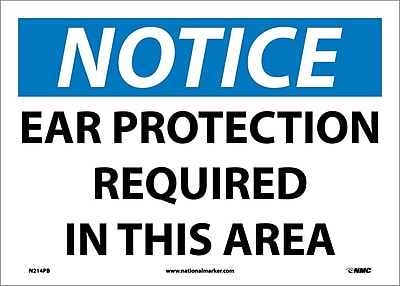 Notice, Ear Protection Required In This Area, 10X14, Adhesive Vinyl