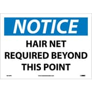 Notice, Hair Net Required Beyond This Point, 10X14, Adhesive Vinyl