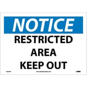 Notice, Restricted Area Keep Out, 10X14, Adhesive Vinyl