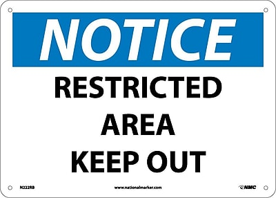 Notice, Restricted Area Keep Out, 10X14, Rigid Plastic