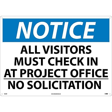 Notice, All Visitor Must Check In At Project Office No Solicitation, 20X28, Rigid Plastic