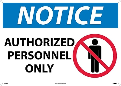 Notice, Authorized Personnel Only, Graphic, 20X28, Rigid Plastic
