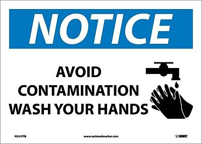 Notice, Avoid Contamination Wash Your Hands, Graphic, 10X14, Adhesive Vinyl